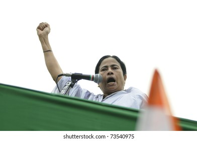 KOLKATA - FEBRUARY 20:  Indian Railways minister Ms. Mamata Banerjee speaking  angrily about the atrocities of the state government  during a political rally in Kolkata, India on February 20, 2011.