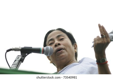 KOLKATA - FEBRUARY 20:  Indian Railways minister Ms. Mamata Banerjee speaking to her followers  during a political rally organized by her partyin Kolkata, India on February 20, 2011.