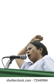 KOLKATA - FEBRUARY 20:  Indian Railways minister Ms. Mamata Banerjee in an agitated mood  during a political rally organized by her party in Kolkata, India on February 20, 2011.