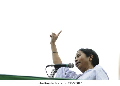 KOLKATA - FEBRUARY 20: Indian Railways minister Ms. Mamata Banerjee giving speech  during a political rally organized by her party in Kolkata, India on February 20, 2011.