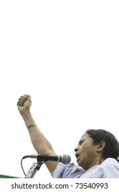 KOLKATA - FEBRUARY 20:  Indian Railways minister Ms. Mamata Banerjee in an agitated mood  during a political rally  in Kolkata, India on February 20, 2011.