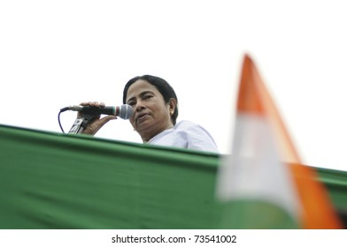 KOLKATA - FEBRUARY 20:  Indian Railways minister Ms. Mamata Banerjee looking at the audience while giving her speech during a political rally in Kolkata, India on February 20, 2011.