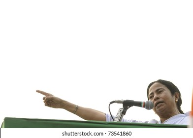 KOLKATA - FEBRUARY 20:  Indian Railways minister and supremo of All India Trinamool Congress Ms. Mamata Banerjee speaking during a political rally in Kolkata, India on February 20, 2011.