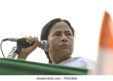 KOLKATA - FEBRUARY 20:  Indian Railways minister Ms. Mamata Banerjee looking looking angrily to one of her supporters who misbehaved during a political rally in Kolkata, India on February 20, 2011.