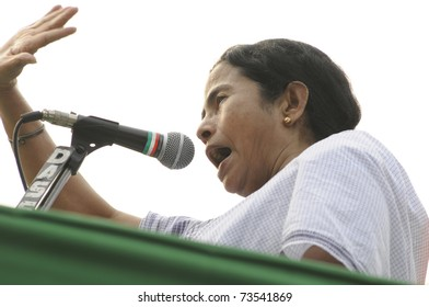 KOLKATA - FEBRUARY 20:  Indian Railways minister Ms. Mamata Banerjee in an agitated mood while giving her speech during a political rally in Kolkata, India on February 20, 2011.