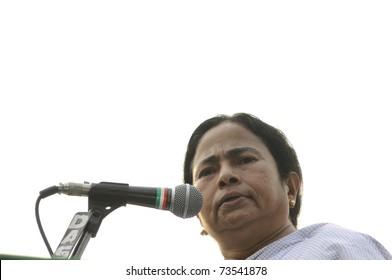 KOLKATA - FEBRUARY 20:  Indian Railways minister Ms. Mamata Banerjee speaking  during a political rally in Kolkata, India on February 20, 2011.