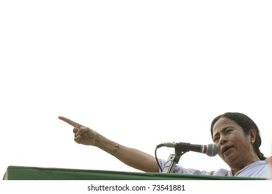 KOLKATA - FEBRUARY 20:  Indian Railways minister Ms.Mamata Banerjee poniting her finger at the audience while giving her speech during a political rally in Kolkata, India on February 20, 2011.