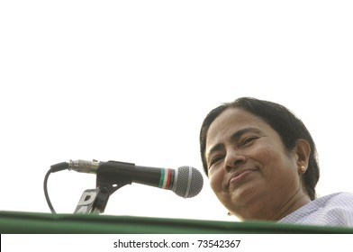 KOLKATA - FEBRUARY 20:   Indian Railways minister Ms. Mamata Banerjee sharing a smile  during a political rally in Kolkata, India on February 20, 2011.
