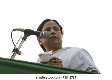 KOLKATA - FEBRUARY 20:  Indian Railways minister Ms. Mamata Banerjee addressing a  during a political rally in Kolkata, India on February 20, 2011.
