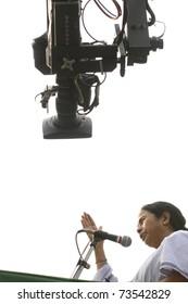 KOLKATA - FEBRUARY 20: Media attention towards the Indian Railways minister Ms. Mamata Banerjee  during a political rally in Kolkata, India on February 20, 2011.