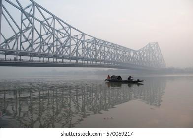 Kolkata Howrah Bridge at sunrise