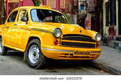 Kolkata, India - 02 December, 2013: Taxi in a street of  Kolkata city.