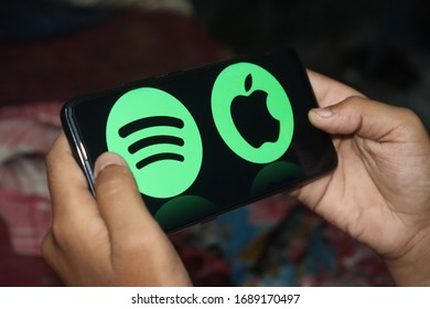 Kolkata, India - 1 April , 2020: Android mobile showing Spotify logo.