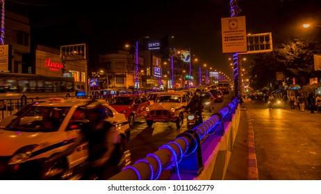 Kolkata, India 2018-01-25 19:43 night view of a bridge or flyover and cars rushing down.