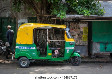KOLKATA, INDIA - 22 May 2016 :Most cities in India offer auto rickshaw service, although hand-pulled rickshaws do exist in some areas, such as Kolkata.