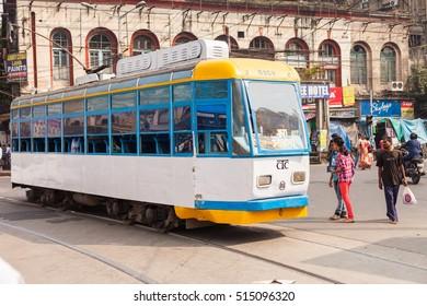 KOLKATA, INDIA - 22 Oct 2016: A tram (streetcar) on October 22, 2016 in Kolkata (Calcutta), India
