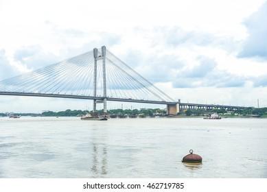 Kolkata, India - 24 JULY 2016: Picturesque Scenery of the Vidyasagar Setu in Kolkata
