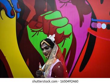 Kolkata, India, 29/12/2019 - A transgender person dress up as a Bengali bride on a Rainbow Parade in Kolkata, India.