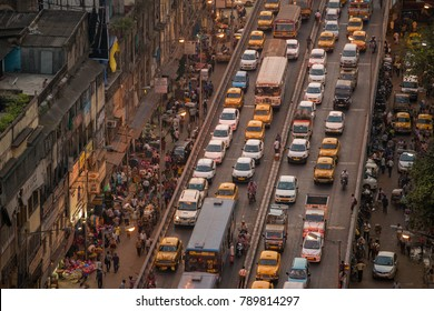 Kolkata, India - April 13, 2017: Kolkata city traffic jam on crowded street into the downtown.