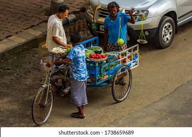 Kolkata, India - April 2020: Lockdown for COVID-19 - Man selling vegetables