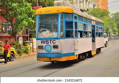Kolkata, India - April 23, 2017: A tram moving along the road