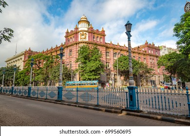 Kolkata, India, August 20, 2017: Early morning city road with colonial architecture buildings at Dalhousie area of Kolkata.