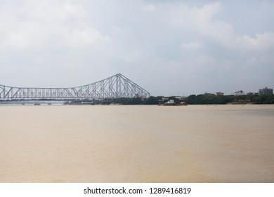 Kolkata / India - August 2015: The Howrah bridge that connects Kolkata with Howrah.