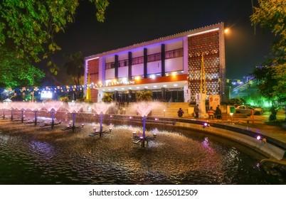 Kolkata, India, December 22,2018: Notable city landmark Rabindra Sadan the cultural center of Kolkata decorated with lights on Christmas and New Years eve.