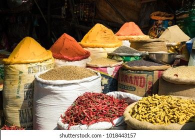 KOLKATA, INDIA - FEBRUARY 04, 2018: Colorful Indian spices are piled up in a for display in a local streetside stall in India