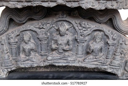 KOLKATA, INDIA - FEBRUARY 09: Five dhyani buddhas, from 11th century found in Bihar now exposed in the Indian Museum in Kolkata, West Bengal, India on February 09, 2016.