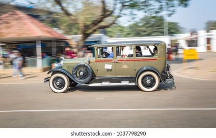 Kolkata, India, February 11,2018: Studebaker vintage car in motion on city street for the Statesman vintage classic car rally at Kolkata.