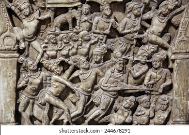 KOLKATA, INDIA - FEBRUARY 15:  Life scenes of Buddha, from 2th century found in Amaravati, Andhra Pradesh now exposed in the Indian Museum in Kolkata, on February 15, 2012
