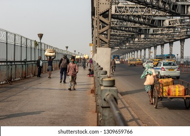 Kolkata, India - January 20, 2019: Famous Howrah Bridge in Kolkata.It is one of the ıconic landmarks of Kolkata, west Bengal.