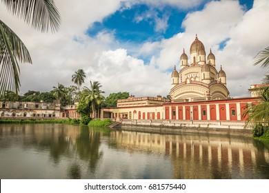 KOLKATA, INDIA - JULY 15, 2017: The Dakshineswar kali hindu temple in Kolkata