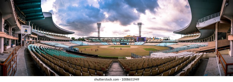 KOLKATA, INDIA - JULY, 2017: Panoramic of the Eden Gardens