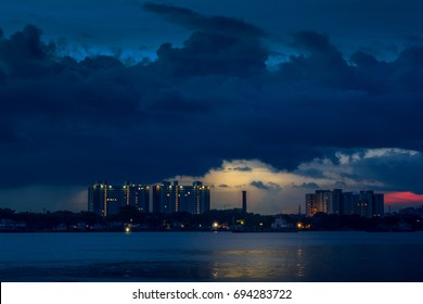 KOLKATA, INDIA - JULY, 2017: Skyline View from Hooghly River
