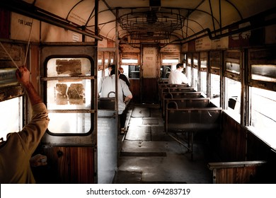 KOLKATA, INDIA - JULY, 2017: A Kolkata Tram from Inside