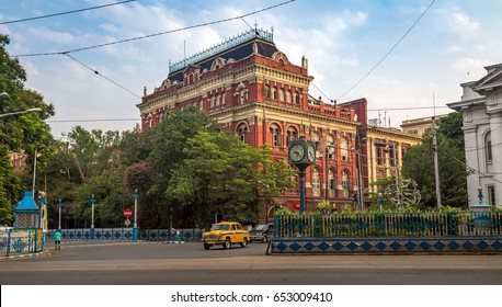 KOLKATA, INDIA, JUNE 06, 2017: Early morning city road view with colonial architectural building of the Secretariat known as the Writer's Building at Kolkata, India.