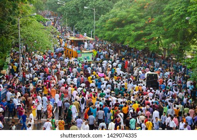 KOLKATA, INDIA - JUNE 25: International Society for Krishna Consciousness (ISKCON) celebrate 46th Jagannath Rath Yatra, on June 25, 2017 in Kolkata, India.  Ratha Yatra is a Hindu celebrated in puri.