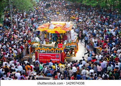KOLKATA, INDIA - JUNE 25: International Society for Krishna Consciousness (ISKCON) celebrate 46th Jagannath Rath Yatra, on June 25, 2017 in Kolkata, India.  Ratha Yatra is a Hindu celebrated in puri.