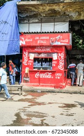 KOLKATA, INDIA - JUNE 26, 2017: A red local indian Coca Cola streetfood restaurant