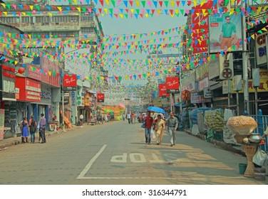 KOLKATA, INDIA - MARCH 15, 2015: people are walking on the street in Kolkata, India
