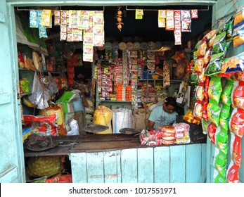 Kolkata, India - March 18, 2017: A shopkeeper selling items in his shop.
