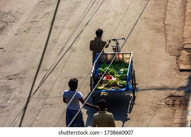 Kolkata, India - March 2020: Lockdown for COVID-19 - Man selling vegetables