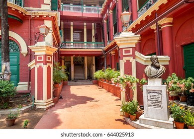 "KOLKATA, INDIA, MAY 10, 2017: Vintage heritage building in Kolkata which was the residence and birthplace of Rabindranath Tagore popularly known as ""Jorasanko Thakurbari"". A notable city landmark."