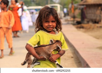 KOLKATA, INDIA - Nov 30: Smiling from unidentified girl n on November 30, 2015.
