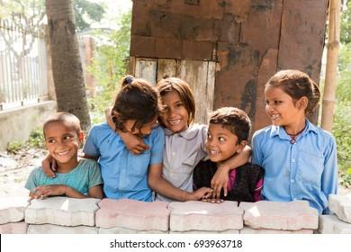 KOLKATA, INDIA - Nov 30: Smiling from unidentified childern on November 30, 2015.