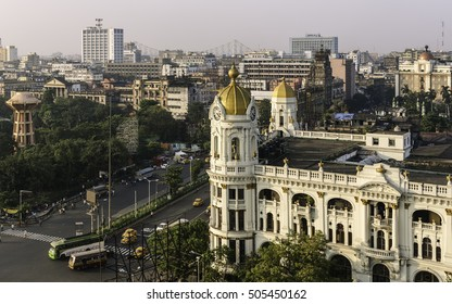 KOLKATA, INDIA - OCTOBER 02, 2011: Elevated view of  Kolkata skyline next to Jawaharlal Nehru Road with view of prominent buildings running into the distance on October 02, 2011 in Kolkata, India.