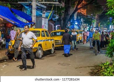 KOLKATA, INDIA - OCTOBER 27, 2016: Sudder street in the center of Kolkata, India