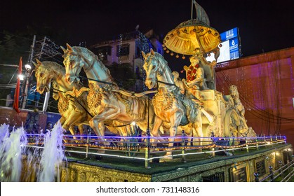 Kolkata, India, September 04,2017: Sculpture of Swami Vivekananda driving a chariot of three horses at Lake Town area of Kolkata, India.